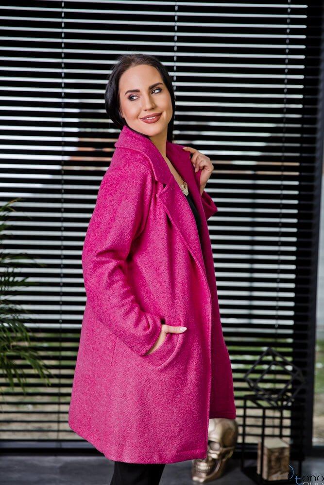 Różowy Płaszcz REBEL Plus Size