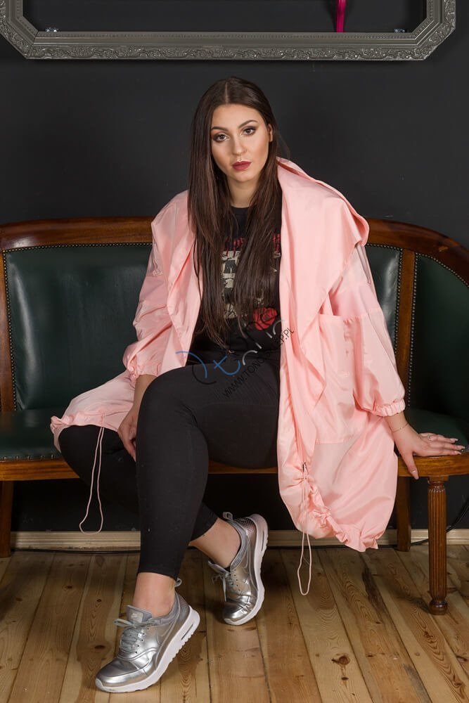 Różowy płaszcz LINGUA Designerski Oversize