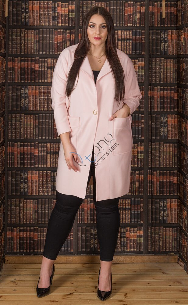 Różowy płaszcz damski FENDY Size Plus