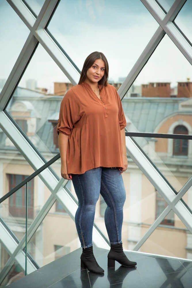Ruda Koszula TERMINA Rozkloszowana Plus Size