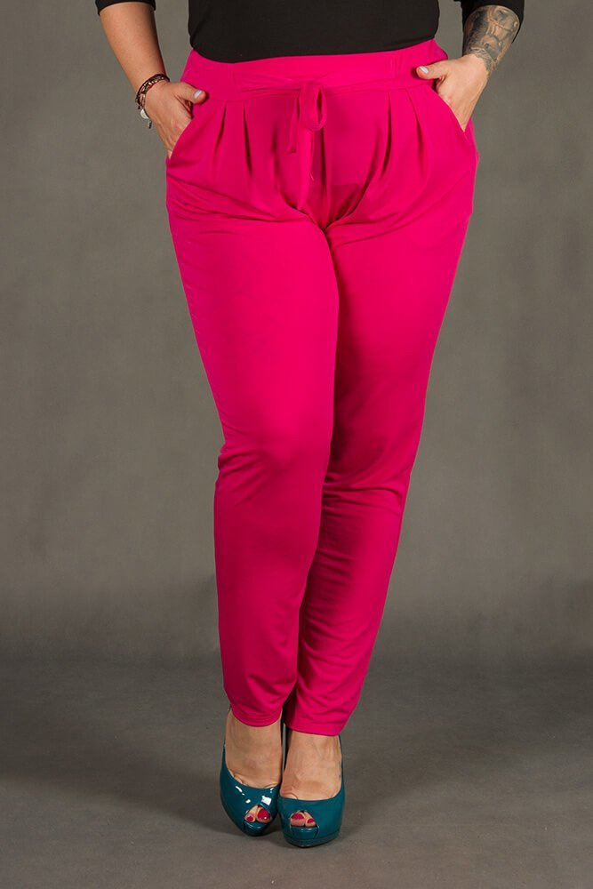 Spodnie SPOKEY Zwiewne Plus Size Fuksja