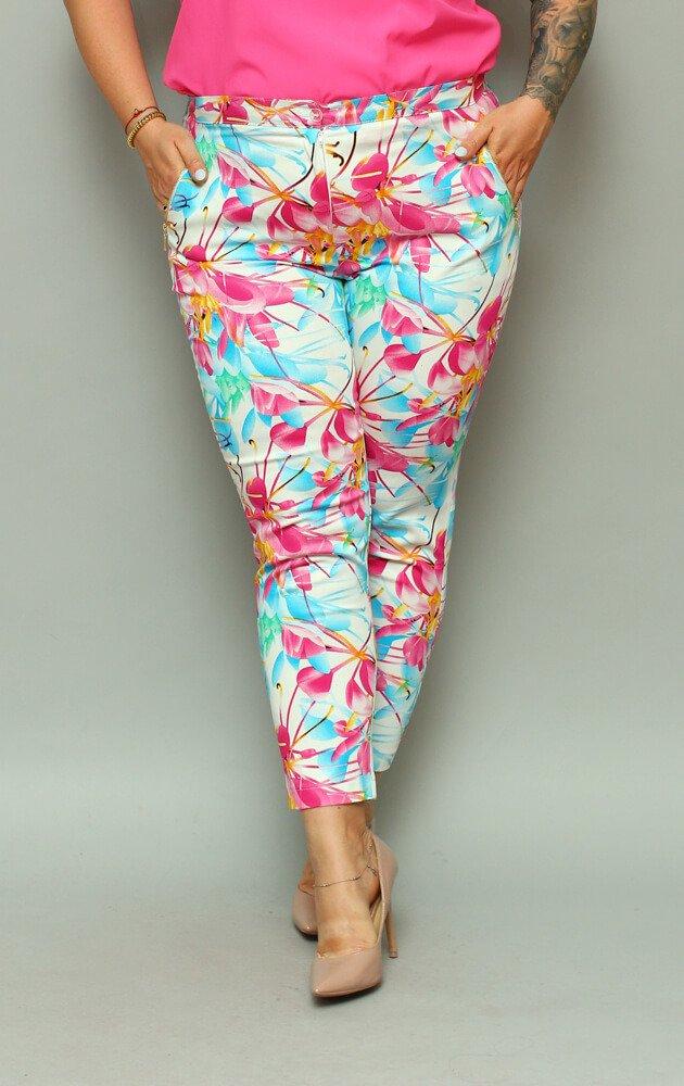 Spodnie damskie ARCOBALENO Kwiaty Plus Size