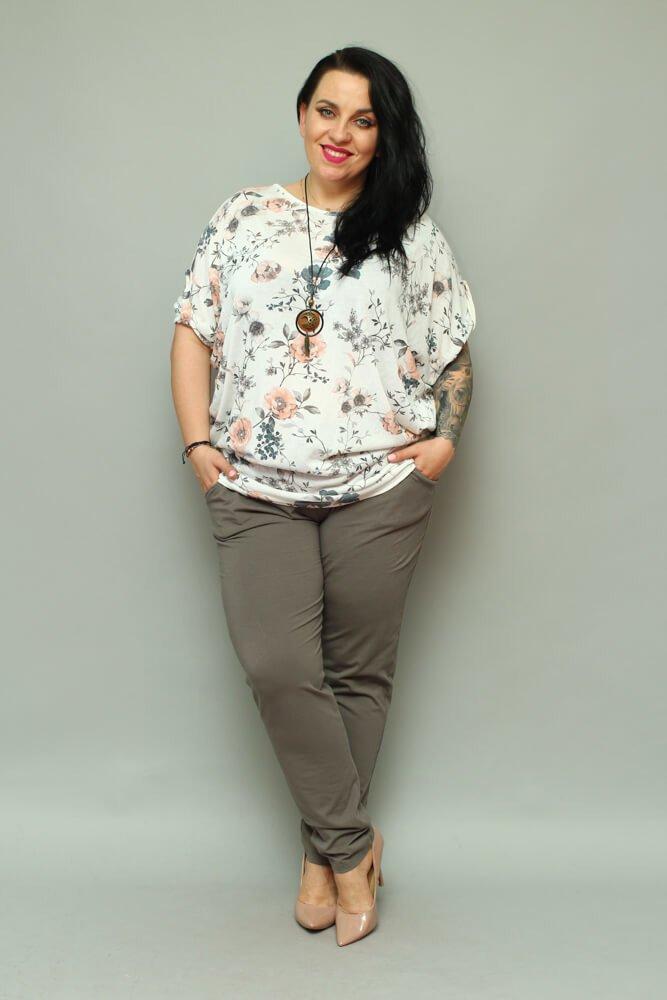 Spodnie damskie MILENA Plus Size wygodne KHAKI
