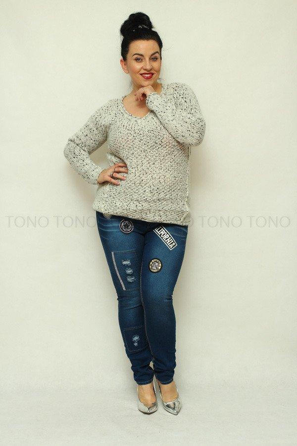 Spodnie damskie jeansowe CORTINA naszywki Rozciągliwe wzór