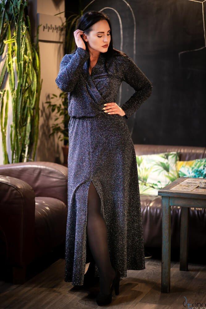 Srebrno-czarna Sukienka FERITTA Plus Size
