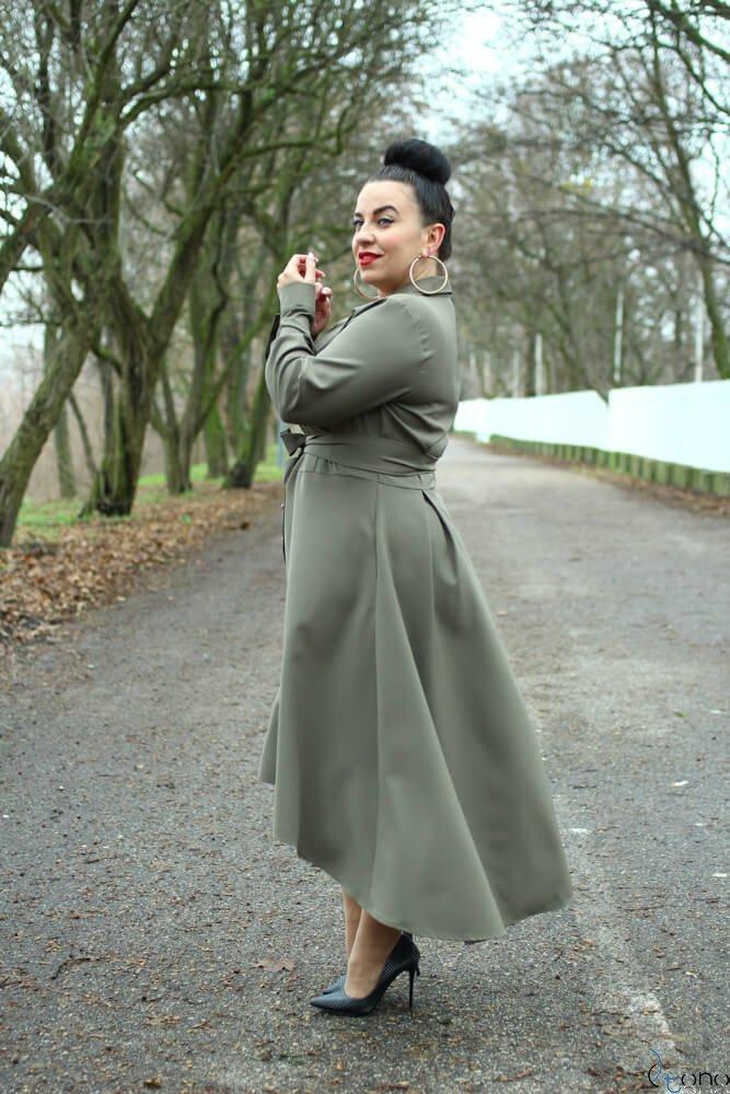 Sukienka CELINE Khaki Szmizjerka Plus Size