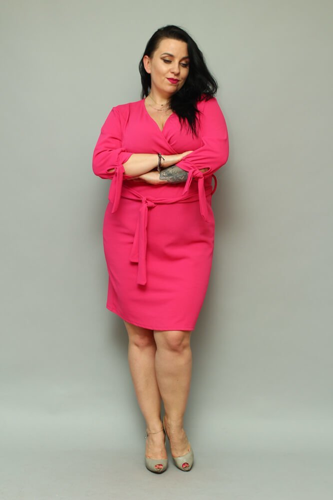 Sukienka CIARRA Kopertowa Plus Size fuksja