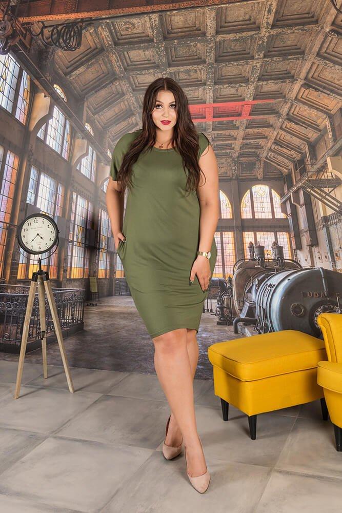 Sukienka FANTASIA Plus Size Khaki
