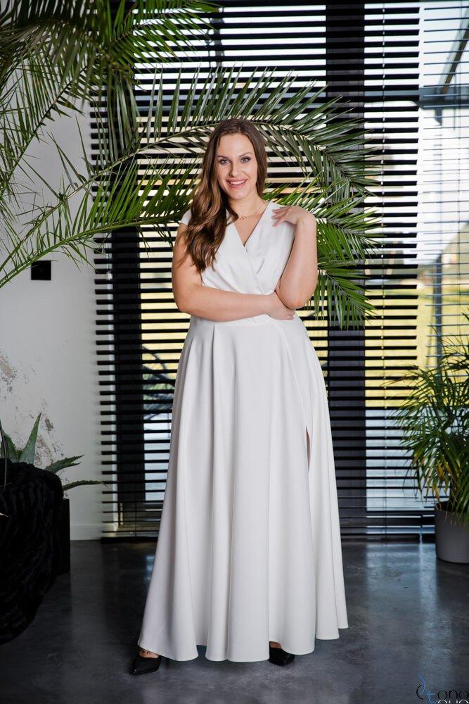 Sukienka LOREDANA Ecru Plus Size