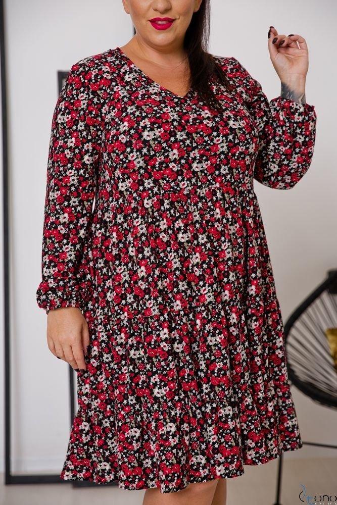 Sukienka TIFANY Plus Size Kwiaty Wzór 1