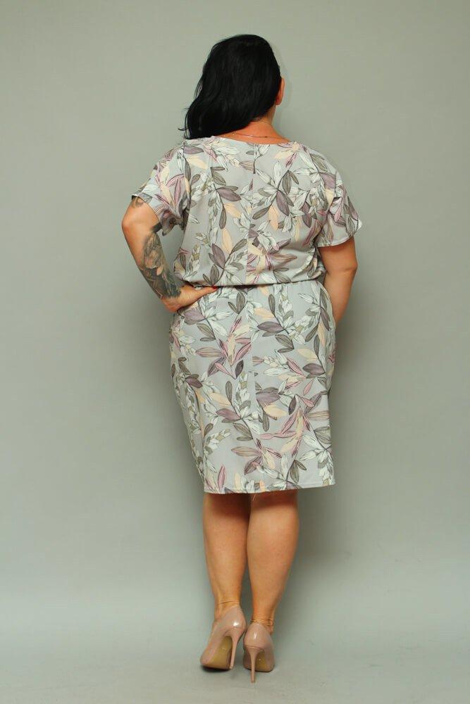 Szara Sukienka INEZ Kwiaty Plus Size