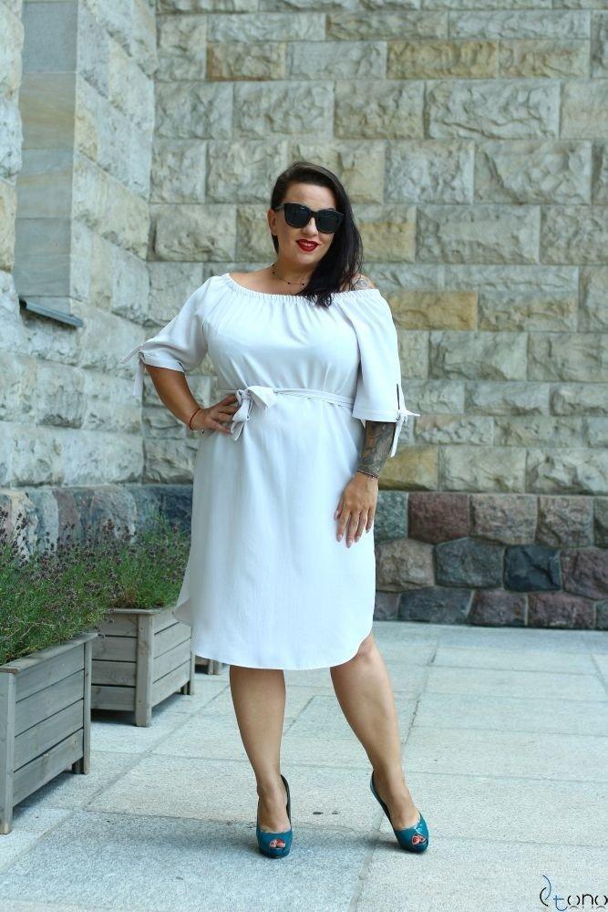 Szara Sukienka NEFRITTA Plus Size
