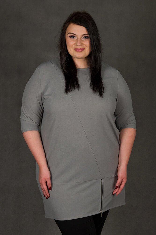 Szara Tunika MIRANDA Plus Size Zip
