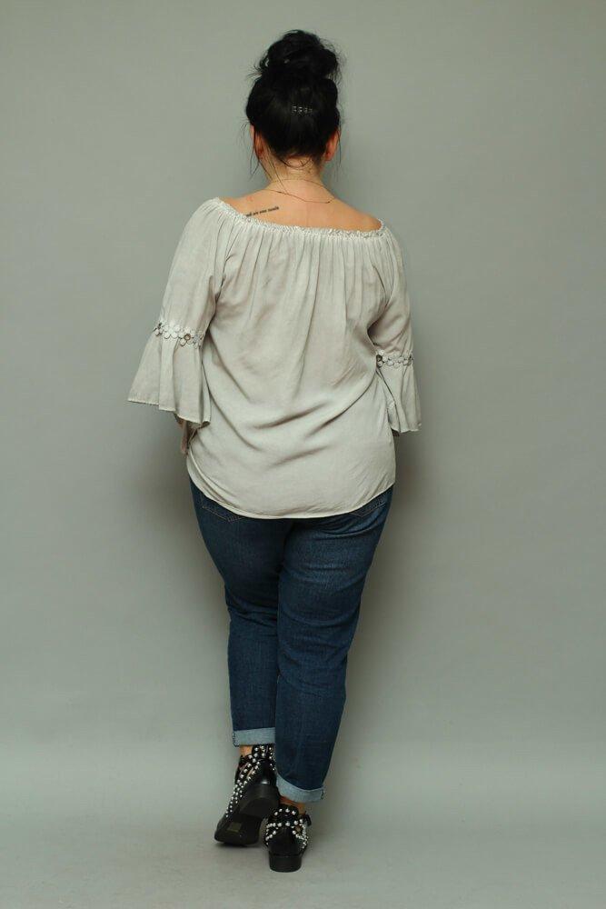 Szara bluzka damska CANTELLA Oversize Plus Size