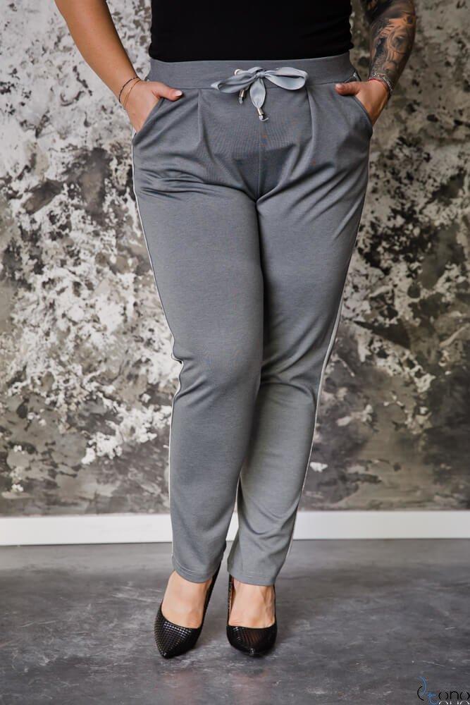 Szare Spodnie VENE Lampas plus Size