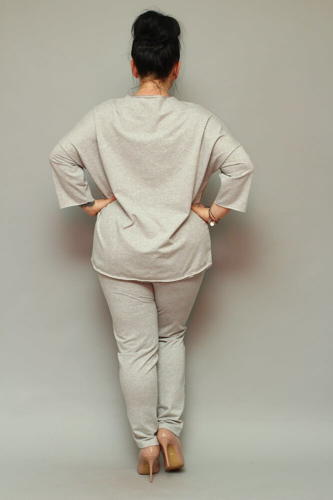Szare Spodnie dresowe damskie LOGGIA Plus Size