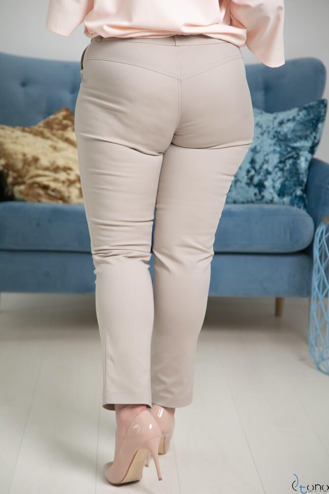 Szarobeżowe Spodnie RESPER eleganckie Plus Size