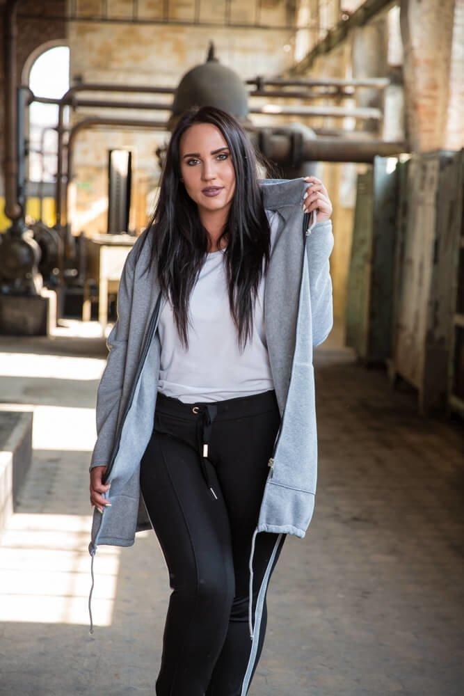 Szary Płaszcz damski FERTILLA Dresowy Plus Size