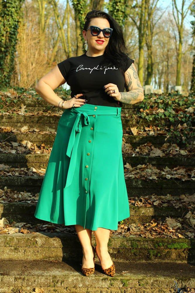 Zielona Spódnica CANELLA Plus Size