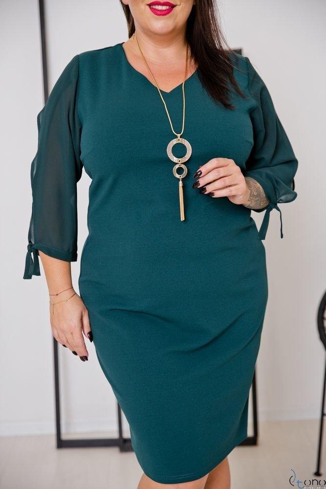 Zielona Sukienka RETRA Trapezowa Plus Size