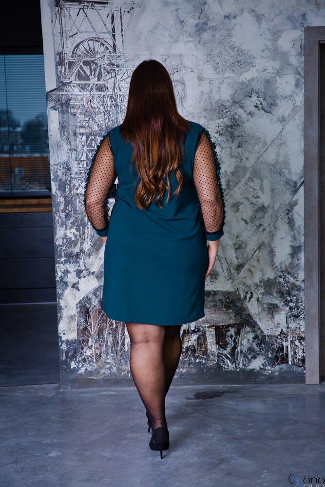 Zielona Sukienka SOLVITA Plus Size Krawatka