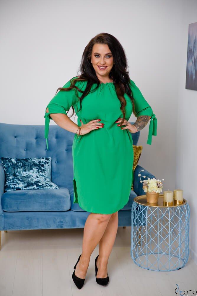 Zielona Sukienka VALENCIA Hiszpanka Plus Size