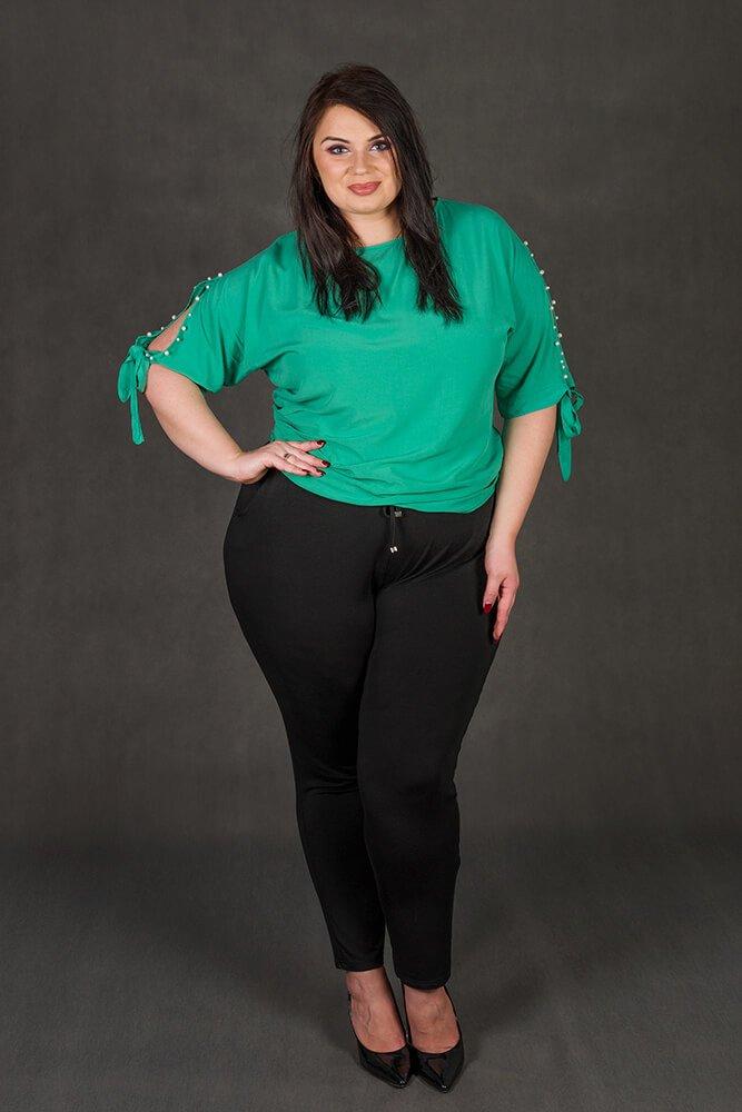 Zielona bluzka damska PASADA Kimono Perełki