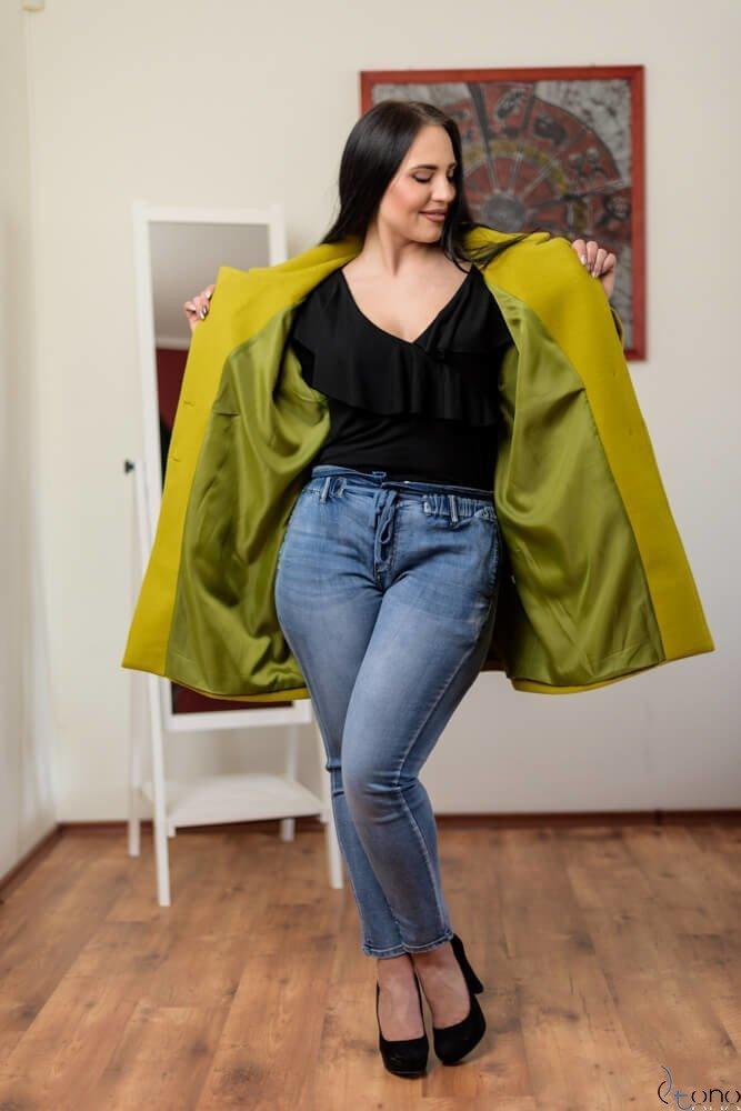 Zielony Płaszcz HOKER Plus Size