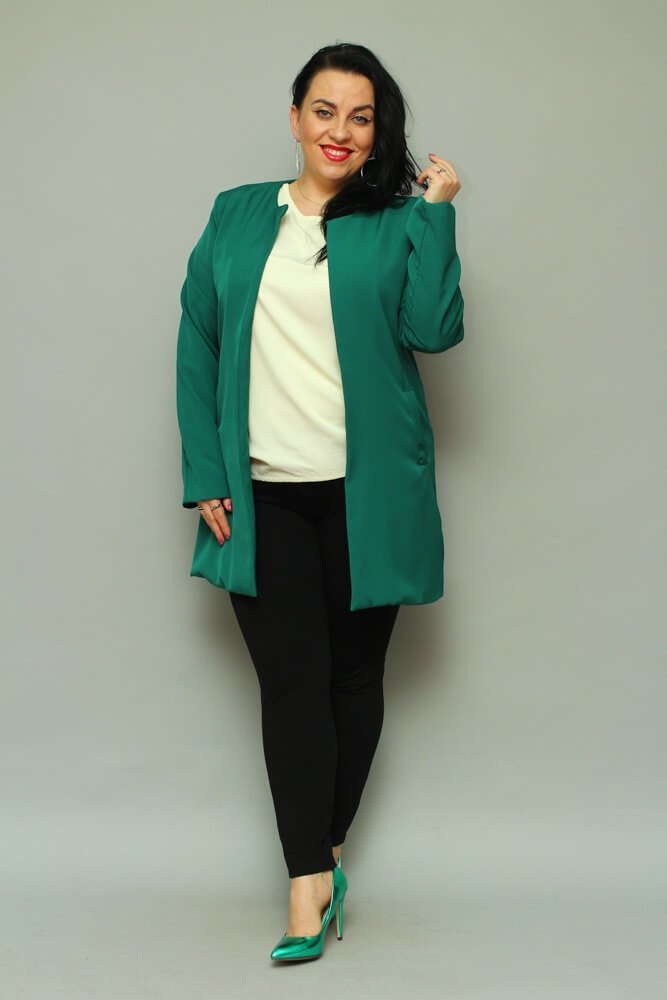 Zielony Płaszcz damski LUKKA Plus Size Kardigan