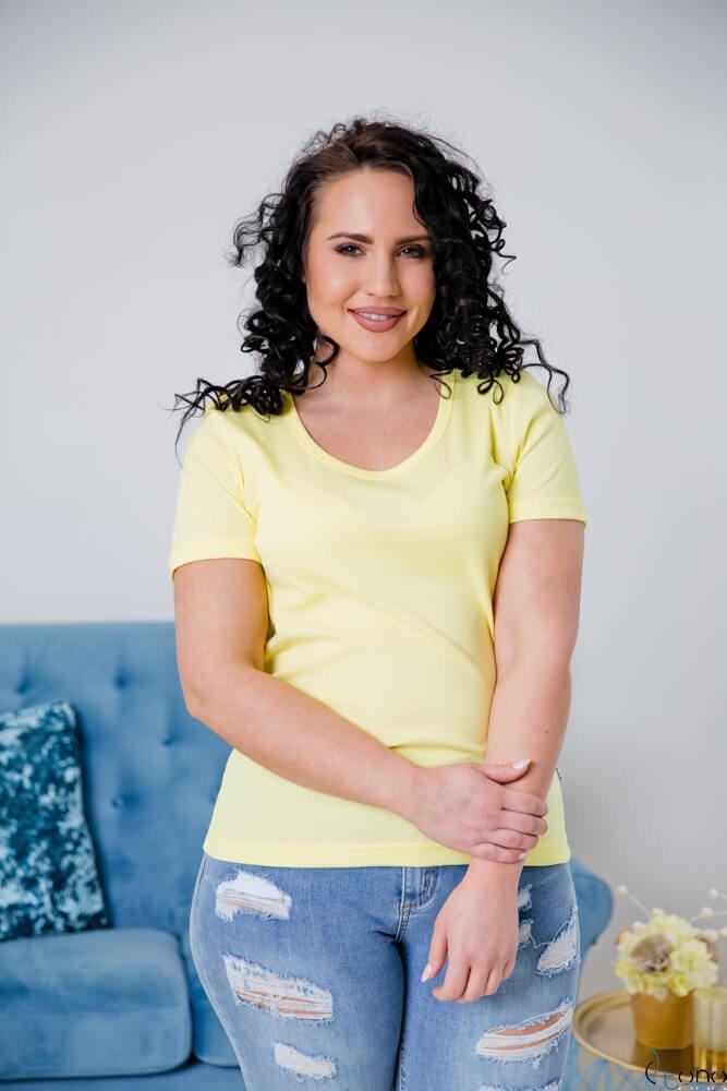 Żółta Bluzka damska DETRRA T-Shirt Plus Size