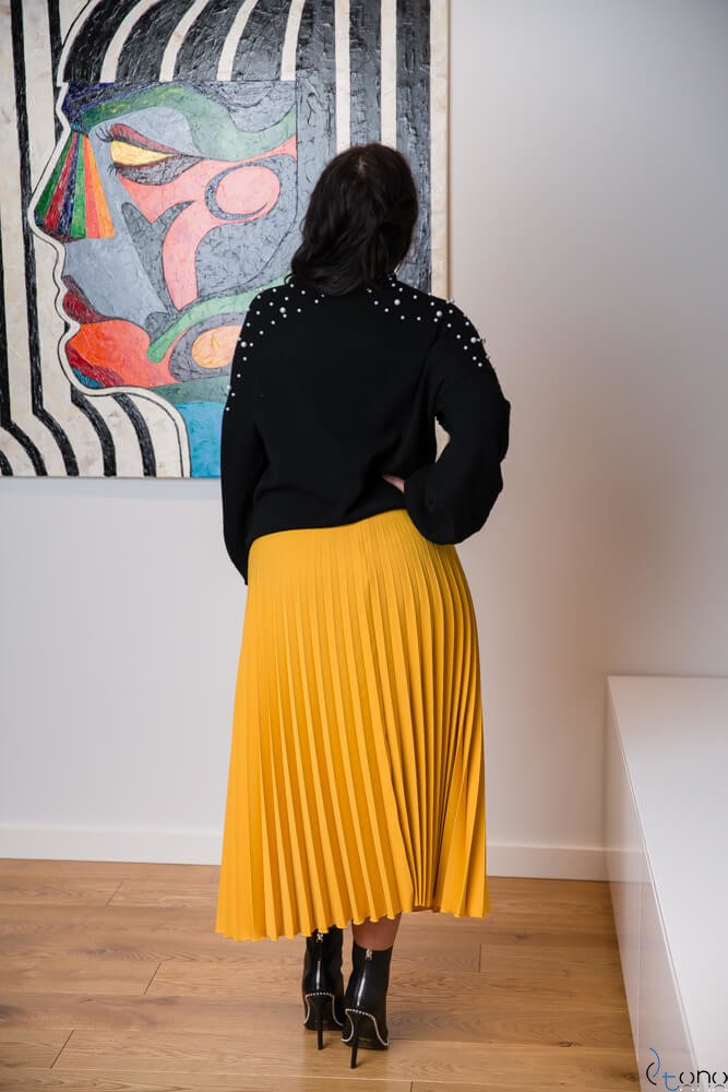Żółta Spódnica CARAMELLA Plisowana Plus Size