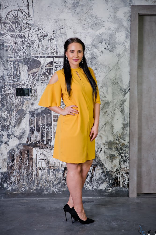 Żółta Sukienka ABRAZZA Plus Size