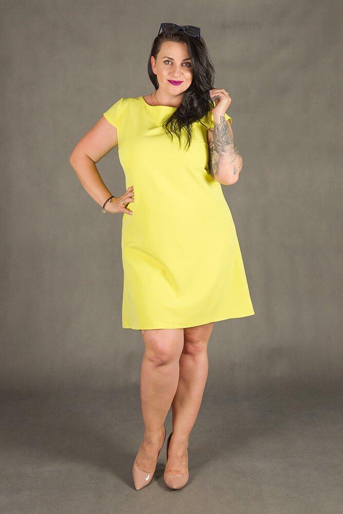 Żółta Sukienka FINESTRA Rozkloszowana Plus Size