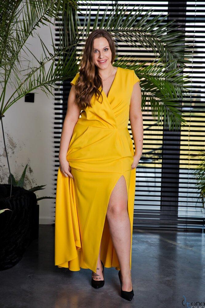 Żółta Sukienka LOREDANA Plus Size