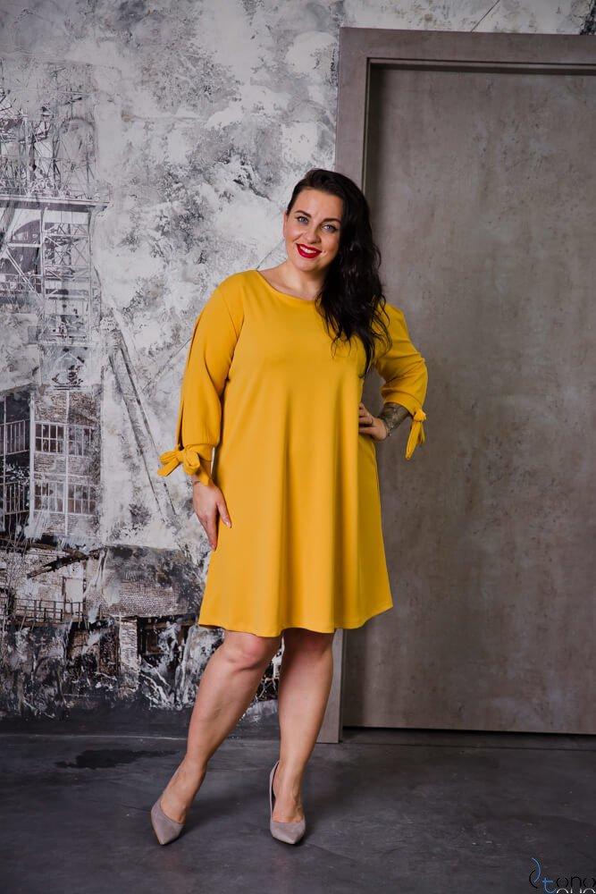 Żółta Sukienka MERCY Plus Size