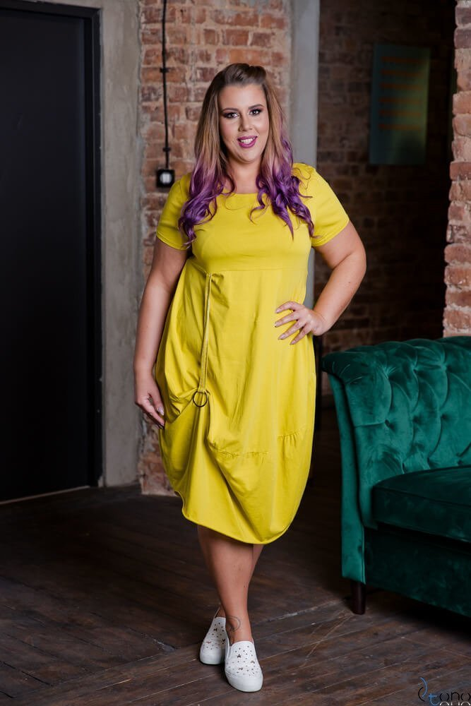 Żółta Sukienka ROLER Plus Size