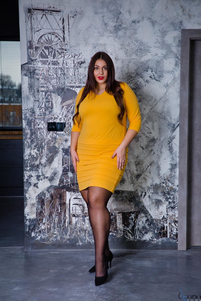 Żółta Sukienka SOMBER Plus Size
