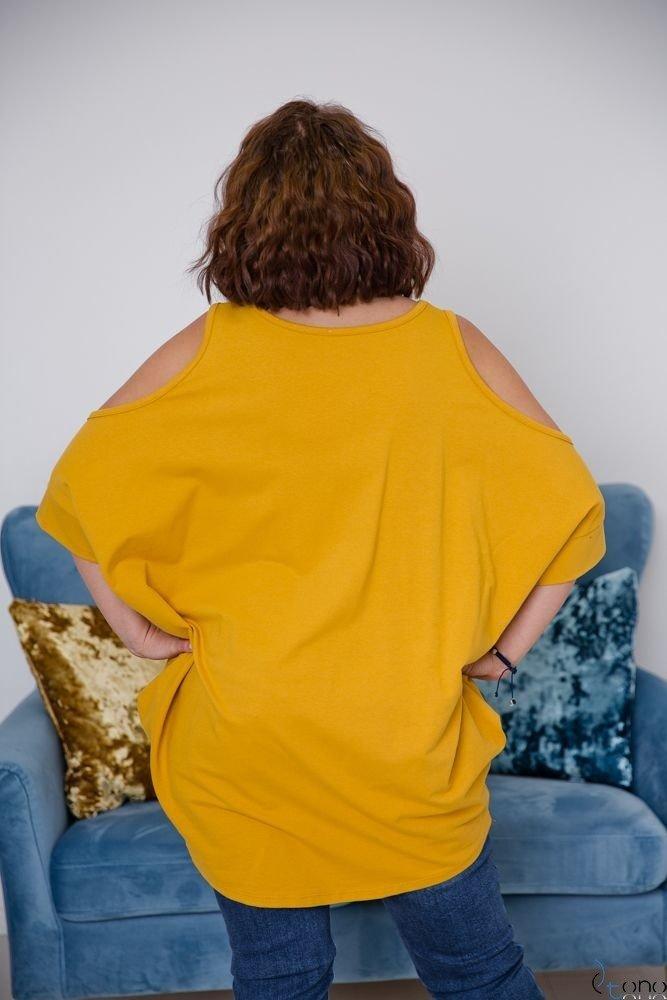 Żółta Tunika AVIMA Plus Size (odkryte ramiona) Wzór 3