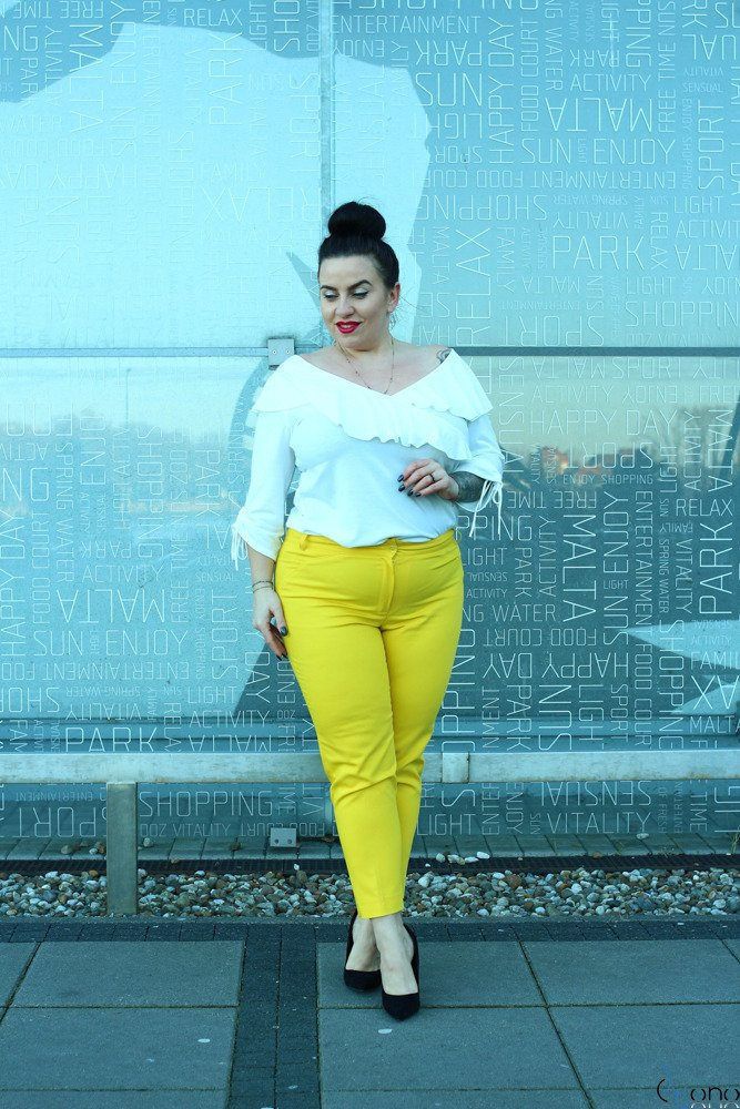 Żółte Spodnie ROBBEN Plus Size