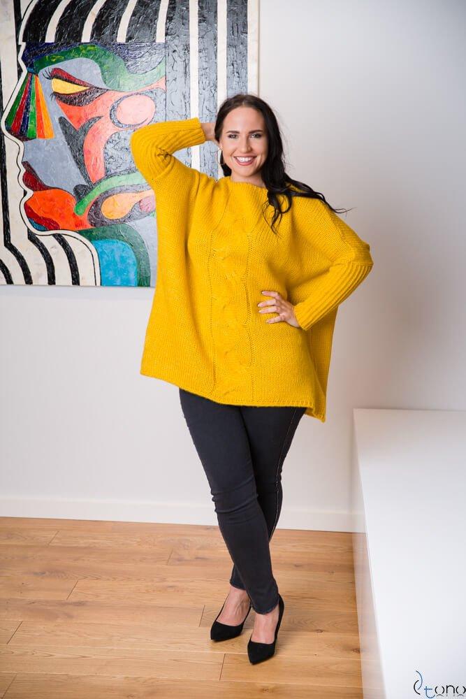 Żółty Sweter LOPPI Plus Size